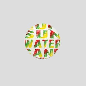 TIKI - RUM SUN WATER SAND - RASTA Mini Button
