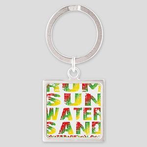 TIKI - RUM SUN WATER SAND - RASTA Square Keychain
