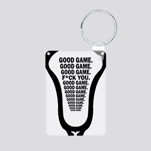 Lacrosse_GoodGame_blk Aluminum Photo Keychain