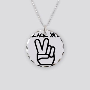peace yall outline Necklace Circle Charm