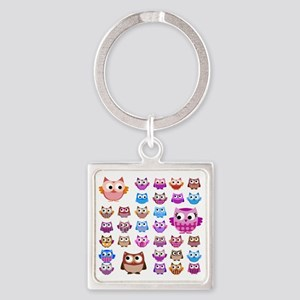Owls! Square Keychain