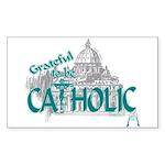 Grateful to be Catholic (Teal) Sticker Rectangular