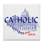 Catholic and Christian (Blue) Tile Coaster