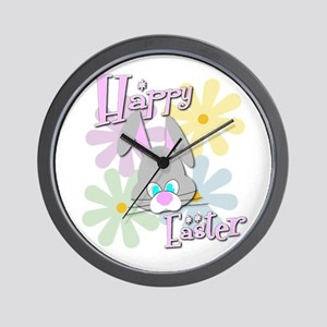 Easter Bunny and Flowers Wall Clock