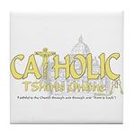 Catholic TShirts Online (Gold) Tile Coaster