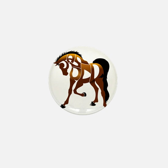 jasper brown horse Mini Button