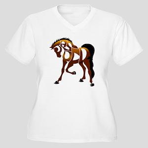 jasper brown hors Women's Plus Size V-Neck T-Shirt