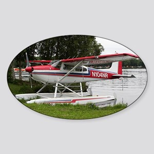 Cessna Float Plane (red, white & bl Sticker (Oval)
