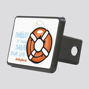 life ring smiley Rectangular Hitch Cover