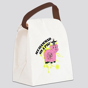 Muhammed On A Pig Canvas Lunch Bag