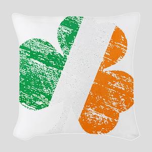 Vintage Distressed Irish Flag  Woven Throw Pillow