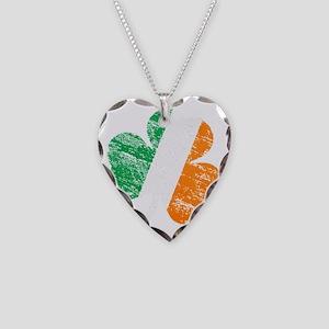 Vintage Distressed Irish Flag Necklace Heart Charm