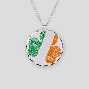 Vintage Distressed Irish Fla Necklace Circle Charm