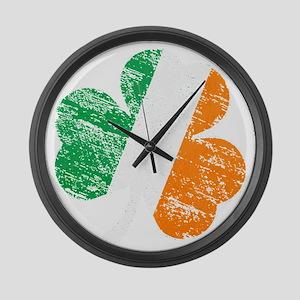 Vintage Distressed Irish Flag Sha Large Wall Clock