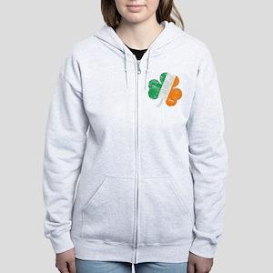 Vintage Distressed Irish Flag S Women's Zip Hoodie