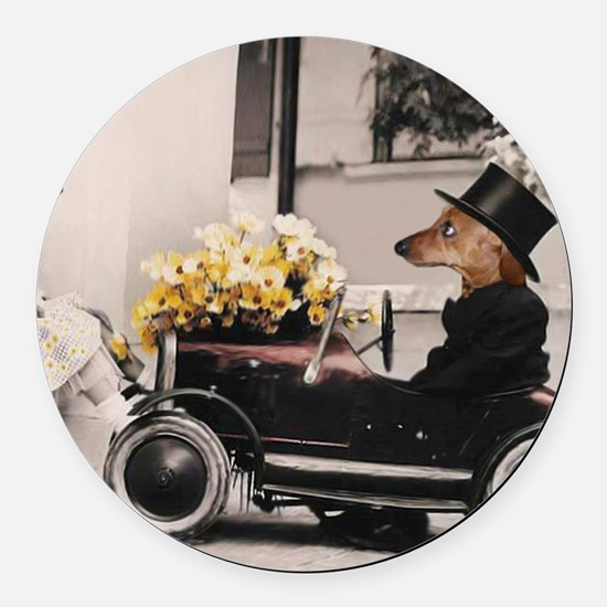 Old Fashioned Doxies Round Car Magnet