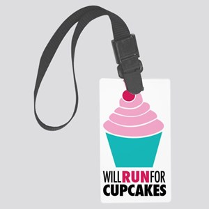 Will Run for Cupcakes Large Luggage Tag