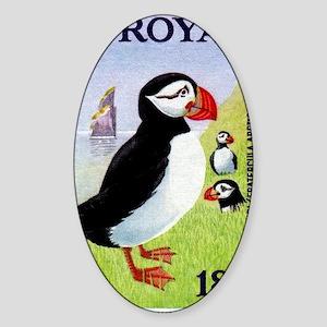 Vintage 1978 Faroe Islands Puffins  Sticker (Oval)