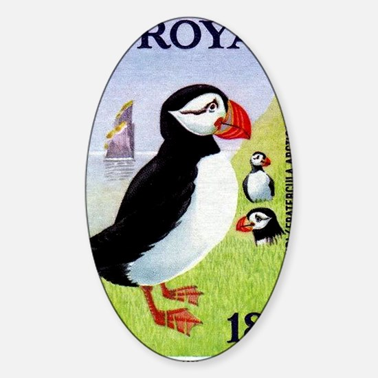 Vintage 1978 Faroe Islands Puffins  Sticker (Oval)