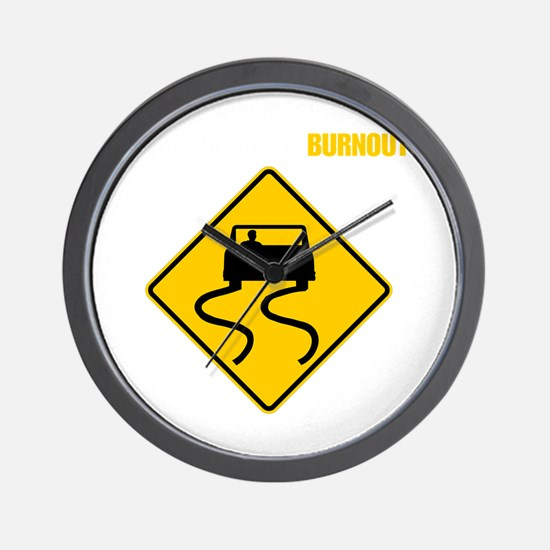 Burnout Traffic Sign 2 Wall Clock