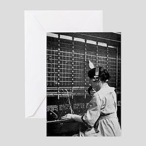 Telephone switchboard operator, 1914 Greeting Card