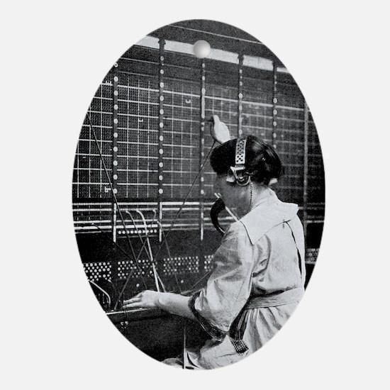 Telephone switchboard operator, 1914 Oval Ornament