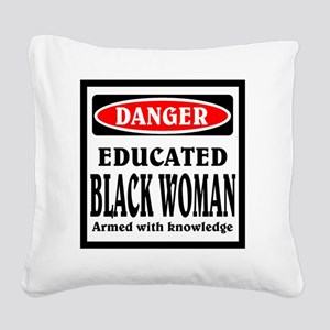 Educated Black Woman Square Canvas Pillow