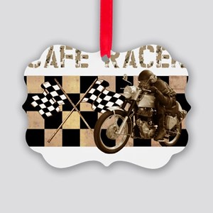 Cafe racer chequered flag Picture Ornament