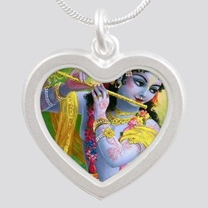 I Love you Krishna. Silver Heart Necklace