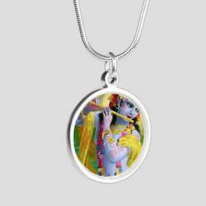 I Love you Krishna. Silver Round Necklace