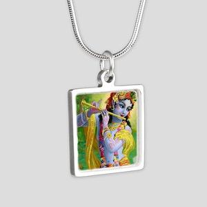 I Love you Krishna. Silver Square Necklace