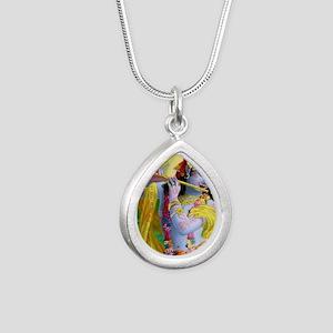 I Love you Krishna. Silver Teardrop Necklace