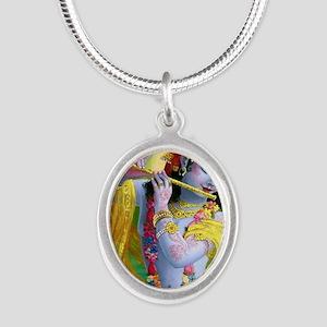 I Love you Krishna. Silver Oval Necklace