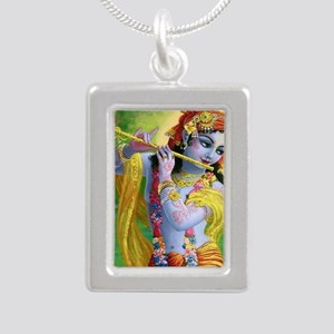 I Love you Krishna. Silver Portrait Necklace