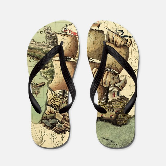 Ancient Map Flip Flops