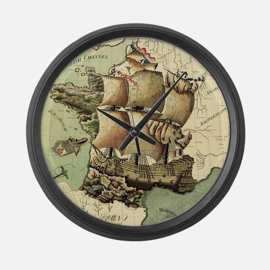 Ancient Map Large Wall Clock