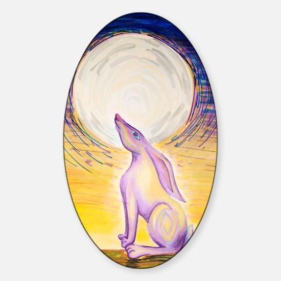 Moon Gazing Hare Sticker (Oval)