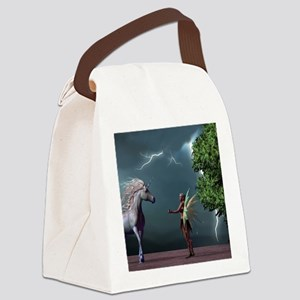 Fairy And Unicorn Canvas Lunch Bag