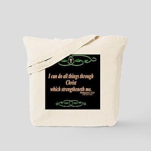 Philippians 4 13 Cross Tote Bag