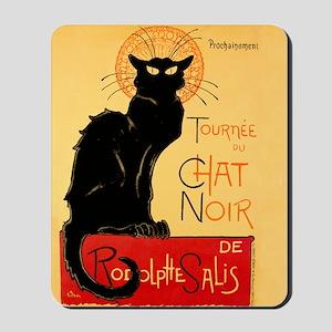 Famous black cat French Mousepad