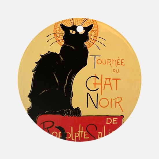 Famous black cat French Round Ornament