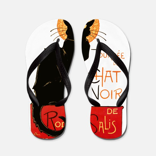 Tournee du Chat Steinlen Black Cat Flip Flops
