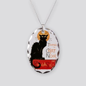 Tournee du Chat Steinlen Black Necklace Oval Charm