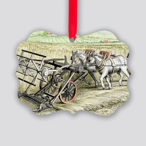 Bell's Improved Reaping Machine Picture Ornament