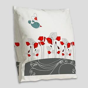 Cute Bird with Flowers Burlap Throw Pillow
