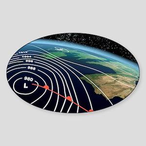 European severe storm, isobar diagr Sticker (Oval)