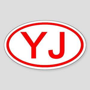 YJ Oval (Red) Oval Sticker
