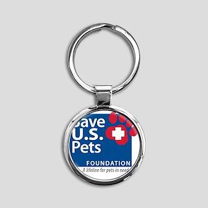 Save U.S. Pets Logo Round Keychain