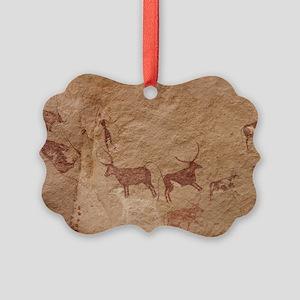 Pictograph of Lion attack, Libya Picture Ornament