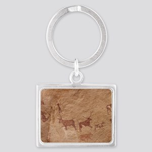 Pictograph of Lion attack, Liby Landscape Keychain